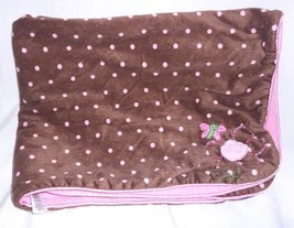 Carters Just One Year Baby Blanket Brown Pink Polka Dot Flower Butterfly... - $22.28