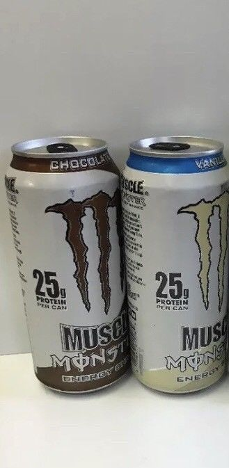 Monster Muscle Energy Shake 15oz Chocolate & Vanilla. One Each Discontinued Can