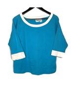 Jason Maxwell XL 3/4 Sleeve Blue White Pullover Shirt Blouse Shirt Tshir... - $14.85