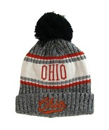 Ohio Plush Lined Embroidered Winter Knit Pom Beanie Hat (Gray/Red Script) - $15.15