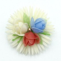 PATRIOTIC FLOWER vintage plastic pin - 1960s white daisy red blue rose Hong Kong - $19.60