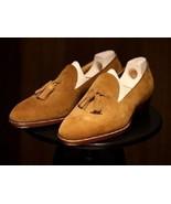 Men's Beige Suede Loafer Men's Tassel Mocassin Formal Leather Shoes Made... - $149.99+