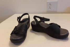 DANSKO 36 5.5/6 Black Sandals Comfort Shoes Heels Leather Working Nurse - $37.08
