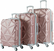 Hardside Expandable Spinner Luggage 3-Piece Set Rose Gold Suitcase Carry... - $142.66