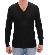 Dolce & Gabbana Black V-neck Rayon Sweater Pullover - $343.43