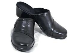 Clarks Bendables Women's Mules Black Leather Upper Open Back Slide On Size 9 M - $39.59