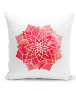 Throw Pillow Watercolor Boho Madala Pillow White Home Decor Pillow 16x16 - $23.97 CAD