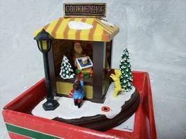 Merry Brite Christmas Village Cookie Shop Scene Lighted Musical Santa Dog Kids - $18.65