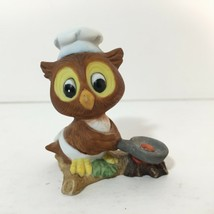 Brown Owl With White Chef's Hat & Frying Pan Porcelain Figurine  Figure ... - $10.86