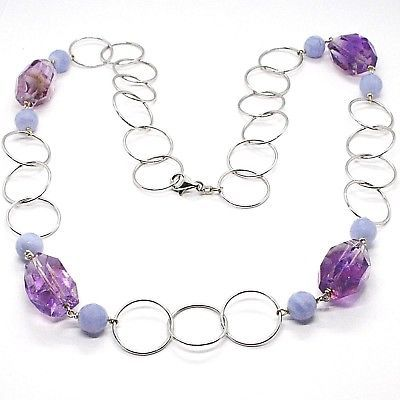SILVER 925 NECKLACE, FLUORITE OVAL FACETED PURPLE, CHALCEDONY, 27 5/8in