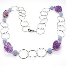 SILVER 925 NECKLACE, FLUORITE OVAL FACETED PURPLE, CHALCEDONY, 27 5/8in image 1