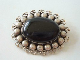 Vintage Sterling Silver Black Onyx Brooch Pin Oval Old Mexico 925 Fancy Wire - $37.61