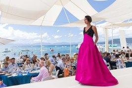 $9K New Stunning Oscar De La Renta Margenta Blk Bead Silk Gown Dress Runway 8 - $2,195.00