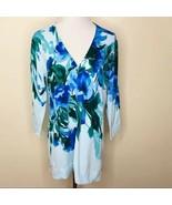 Isaac Mizrahi 3/4 Sleeve Blue Floral Cardigan Sz S - $39.00