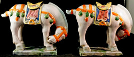 Pair of Chinese Horse Figurine Statues Nice Multi Colored Ceramic Potter... - $199.00