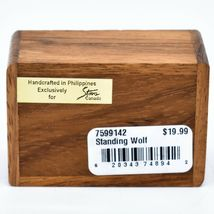 Northwoods Wooden Parquetry Country Rustic Standing Wolf Mini Trinket Box image 5