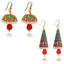 2 Pair Combo Indian Handmade Women Fashion V Shape Drop Dangle Earrings - $10.71