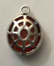 "Vintage Necklace Pendant Silver With Orange Stone Oval 3/4"" H X 3/4"" W - $2.85"