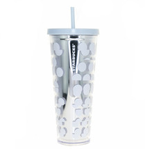 Starbucks White Crystal Blue Polka Dot Print Acrylic Cold Cup 24 oz Tumbler - $45.04