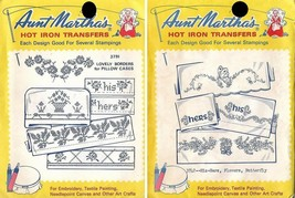 His & Hers Aunt Martha's Hot Iron Transfers #3742 #3791 Pillowcases & More - $4.94