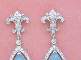 ART DECO 1ctw DIAMOND 3.5ctw OPAL PEAR DROPS FLEUR DE LIS STUD DANGLE EARRINGS image 2