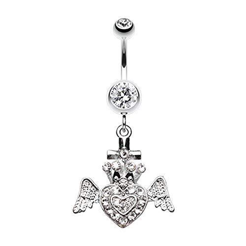 Primary image for Ultra Bright Crowned Angel Heart and Cross WildKlass Belly Button Ring