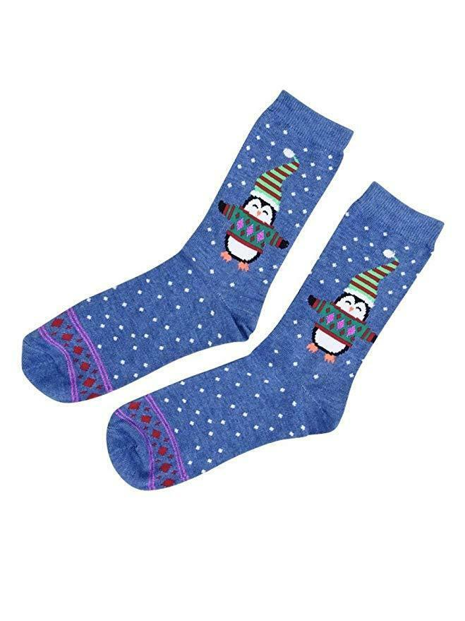Charter Club women's Holiday Crew Socks Sweater Penguin Blue