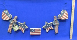4th of July Decor Uncle Sam & Star Wooden Garland Primitive Red White Blue - €16,10 EUR