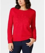 $46.50 Karen Scott Embroidered Snowflake Sweater, New Red, M - $19.45
