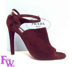 New PRADA Size 9 Burgundy Suede Open Toe Ankle Strap Heels Sandals Shoes 40 - $198.00