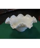 Beautiful Vintage FENTON Milk Glass Ruffled Edge Hobnail BOWL - $22.36