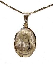 Virgen de Guadalupe Busto .925 Colgante Plata Ley Medalla con 45.7cm Cadena - $16.30