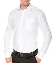 Men's Fashion Fit Long Sleeve Button Down Pocket Pattern White Dress Shirt - L image 3