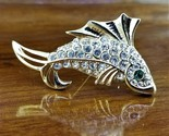 RARE Vintage Gold TN Signed Giovanni Rhinestone Koi Carp Fish Brooch Pin