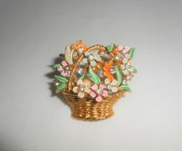 MY FAIR LADY BSK Vintage Enamel Flower Basket Rhinestone Brooch Pin - $28.50