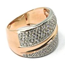 SOLID 18K ROSE WHITE GOLD BAND RING, ALTERNATE DOUBLE WAVES OF CUBIC ZIRCONIA image 3