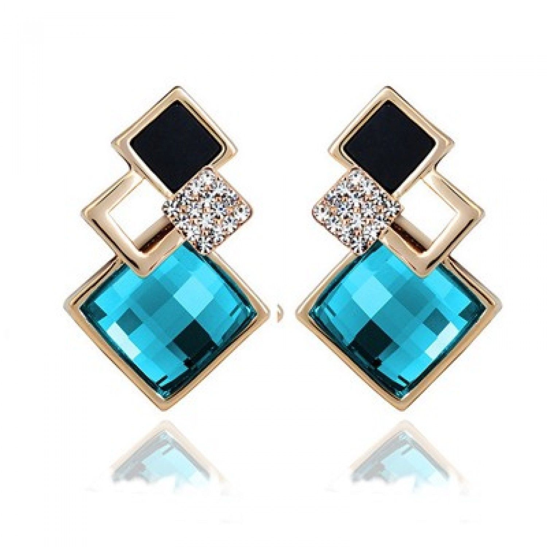 New Popular Crystal Earrings Fashion Geometric Rhinestone Gemstone Studs 2018 image 6