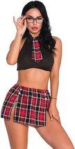 Oliveya School Girl Lingerie Set Sexy Uniform Set Role Play Mini Plaid Skirt image 2