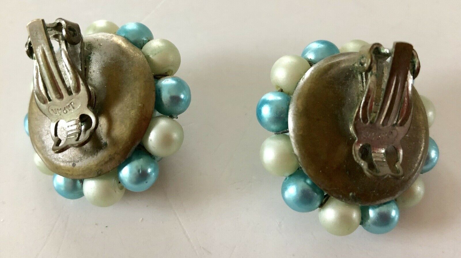 Vintage 50's Mid-Cent Turquoise, Off White Luster Cluster Earrings Signed Japan