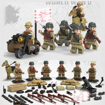 WW2 Japanese Military Soldier Army With Motorcycle Mortar Etc Fit Lego T... - $14.99