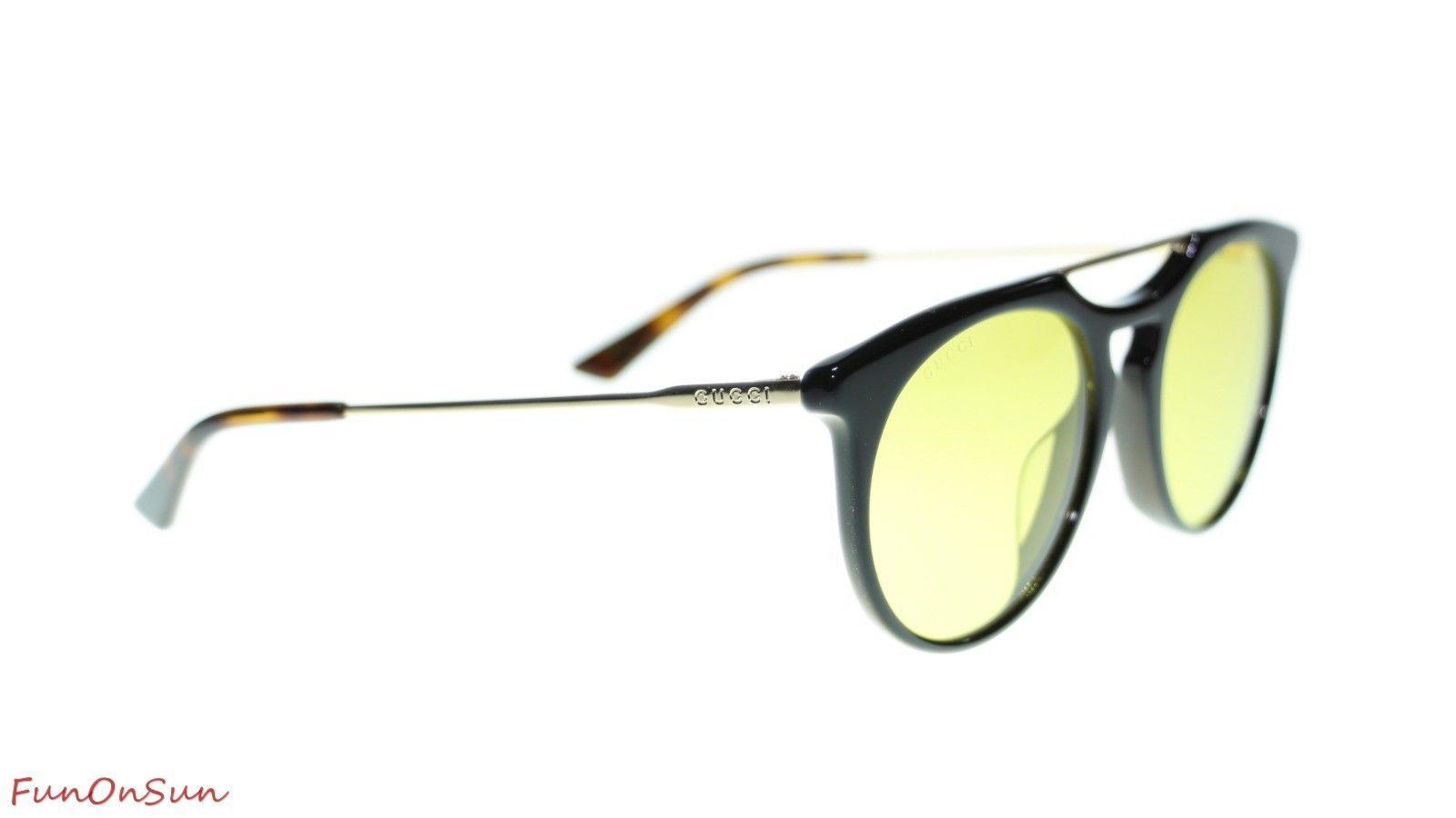 6d99eb3aeb2 NEW Gucci Men Sunglasses GG0320S 002 Black Gold Yellow Lens 53mm Authentic