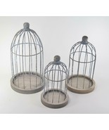 Decorative Rustic Metal Wire Bird Cages on Wood Base Set of 3 Graduated ... - $25.69