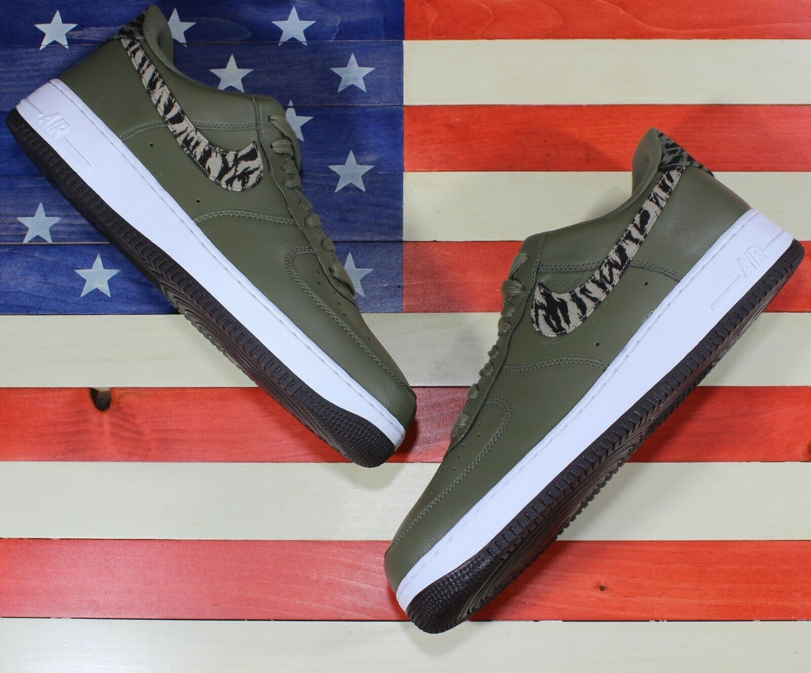 Nike Air Force 1 One Low AOP Basketball Shoes Olive-Green/White [AQ4131-200]- 13 image 6