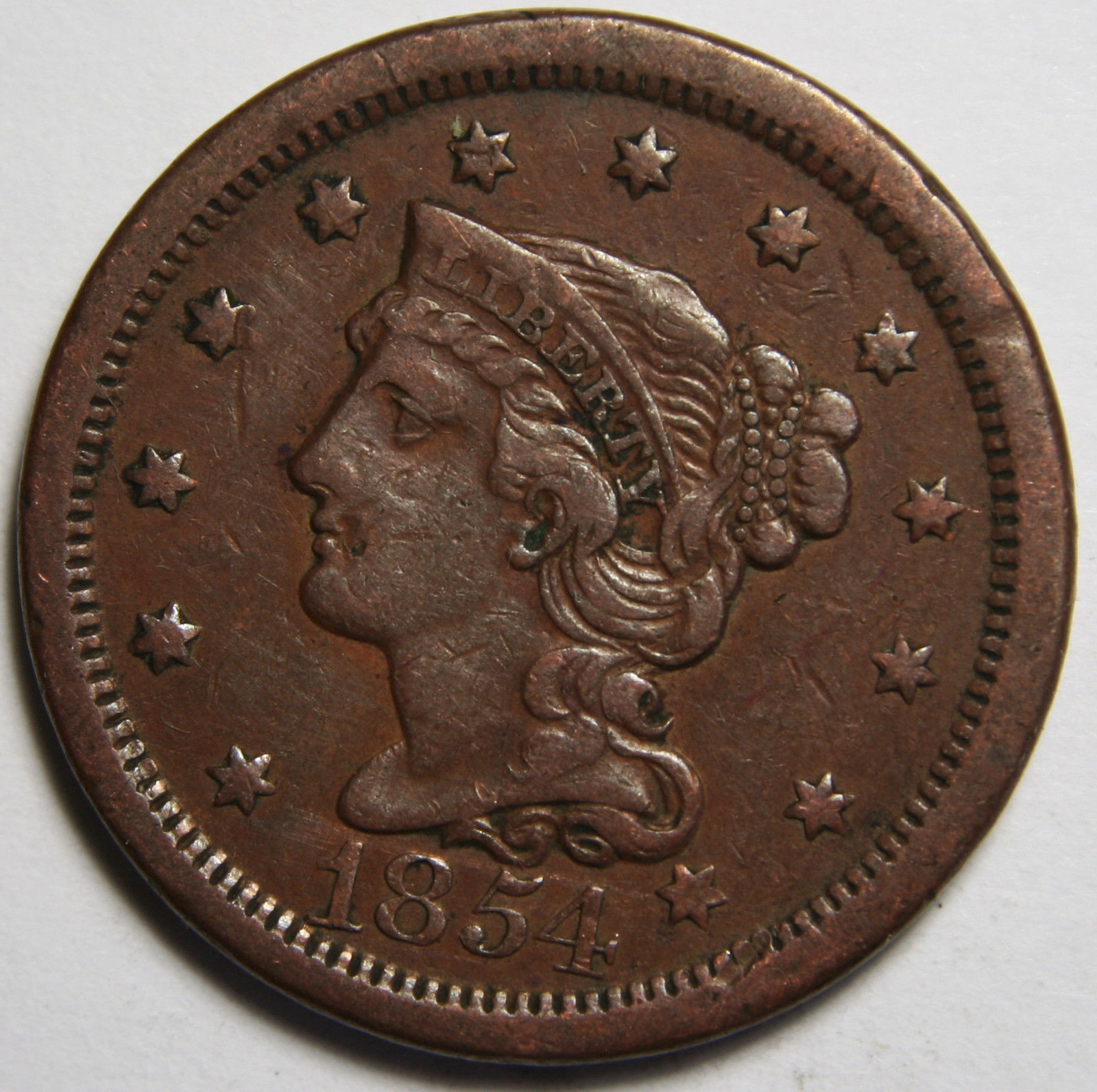 1854 Large Cent Liberty Braided Hair Head Coin Lot # MZ 4107
