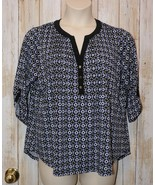 Womens Pretty Star Print Notations 3/4 Sleeve Shirt Size 1X excellent - $7.91