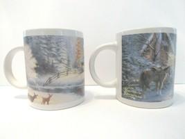 2 Vintage Thomas Kinkade Mugs A Christmas Welcome & Deer Creek Cottage 90s PAIR - $27.59