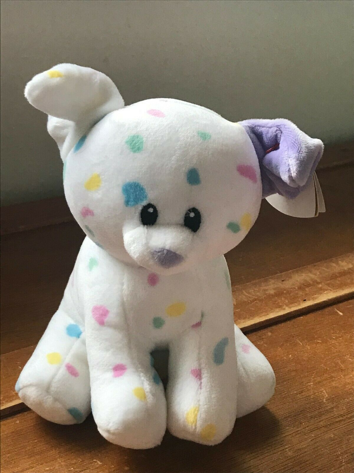 Gently Used Ty Sprinkles White with Pastel Confetti Plush Puppy Dog Stuffed Anim