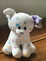 Gently Used Ty Sprinkles White with Pastel Confetti Plush Puppy Dog Stuffed Anim image 1