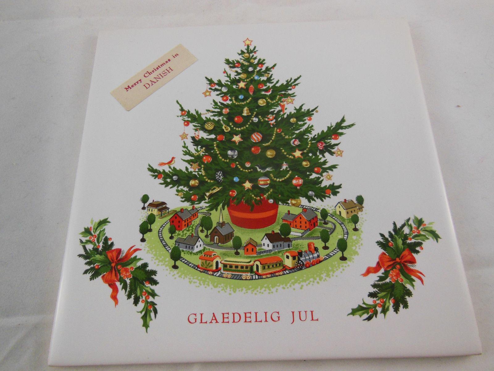 """Tivoli Tiles ELM Trivet Glaedelig Jul Danish Christmas Tree 6"""" felt back Excel"""