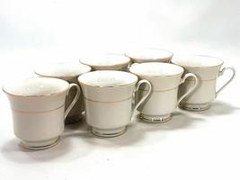 Vintage Set of 7 Tienshan Fine China Tea Coffee Cups Mugs White w/ Gold Trim - $24.99